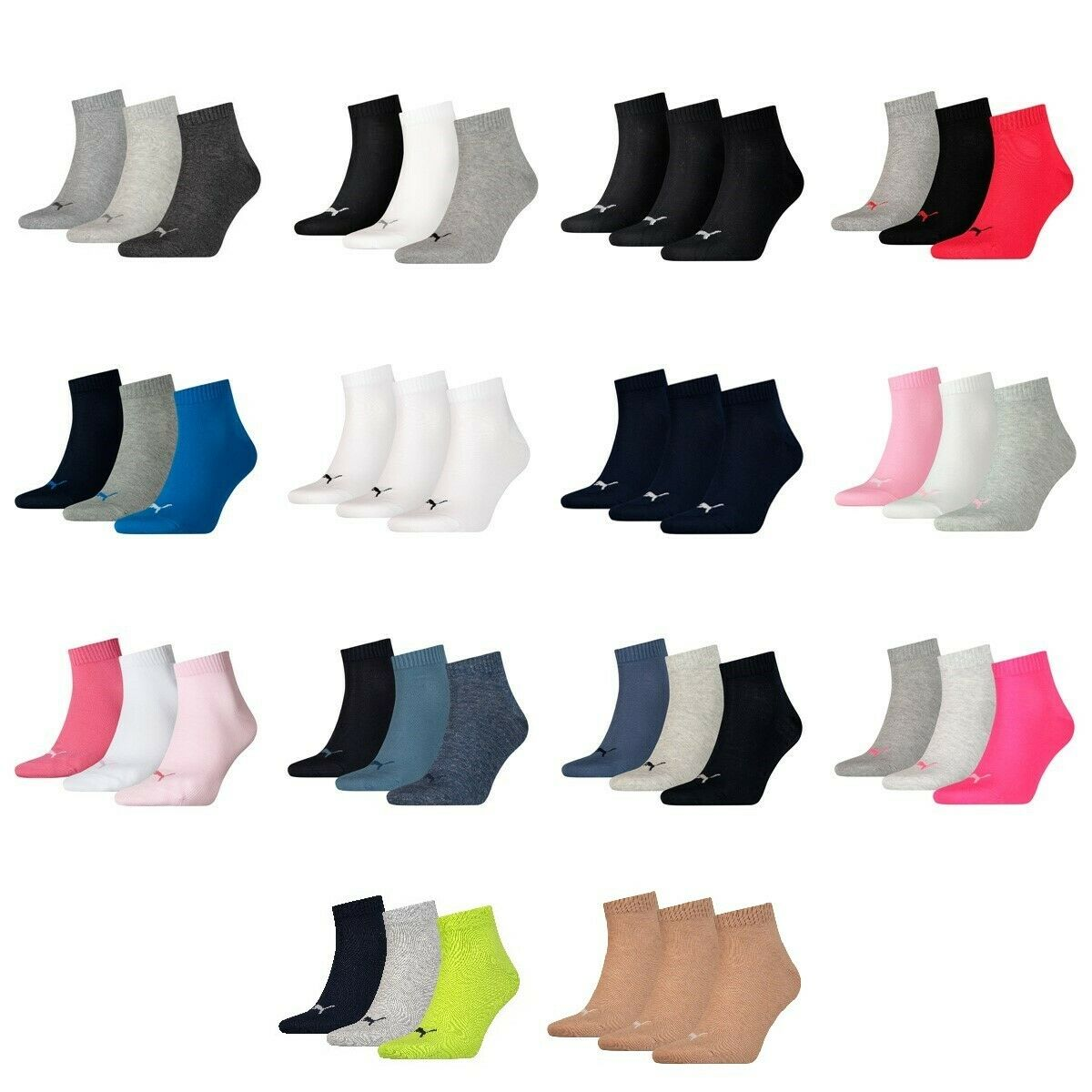 6 Paar Puma Unisex Quarter Socken Sneaker Gr. 35 - 49  für Damen Herren Füßlinge