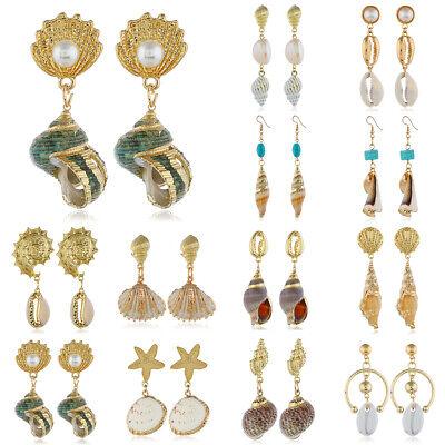 Fashion Women Shell Earring Natural Conch Pendant Dangle Drop Earrings Jewelry