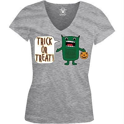 Halloween Treats Meme (Trick Or Treat Green Monster Halloween Pumpkin Candy Meme Juniors V-Neck)