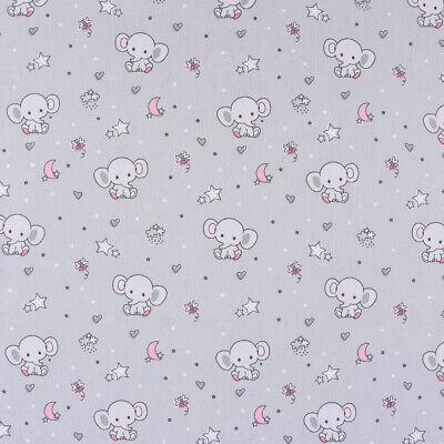 Baumwollstoff SWEET ELEPHANT Baby Elefant Sterne Mond grau rosa weiß 1,40m - Baby Rosa Elefant Kostüm