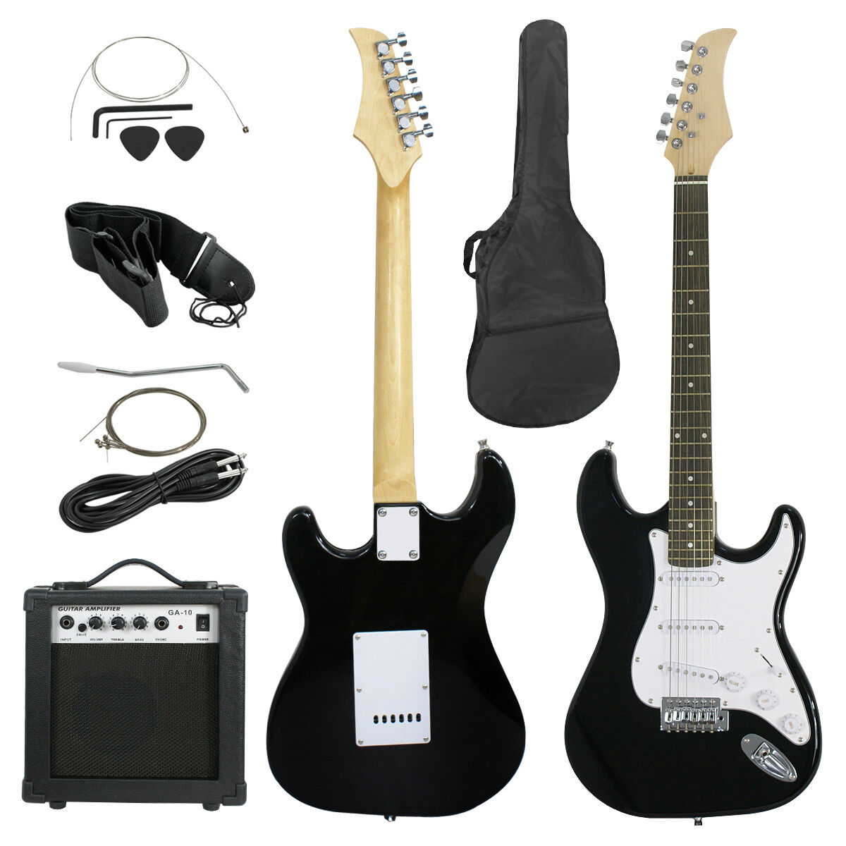 Full Size Black Electric Guitar with Amp, Case and Accessories Pack Beginner Electric Guitars