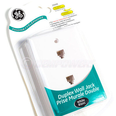 Phone Jack Wall Plate - GE Phone Jack Duplex Wall Mount Plate 2 Telephone Outlet 4-Wire RJ11 White NEW