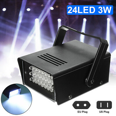 24 White LEDs Strobe Light DJ Disco Operated Party Stage Effect Lights - White Disco Lights