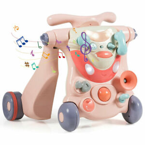 3-In-1 Baby Sit-To-Stand Walker Infant Toddler Ride on Car Toy W/ Light & Music