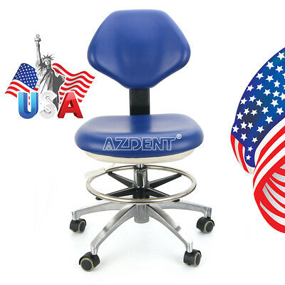 Usa Dental Stool Adjustable Pu Leather Dentist Chair Doctor Rolling Stool Blue