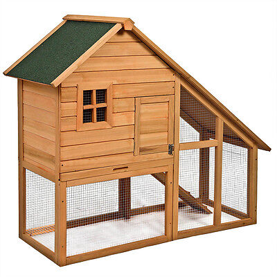 "Deluxe Wooden Chicken Coop 55"" Hen House Rabbit Wood Hutch Poultry Cage Habitat"
