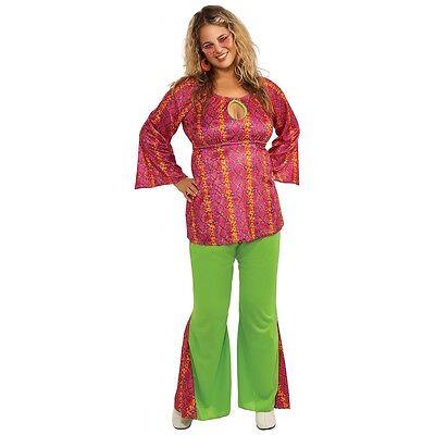 Hippie Costume Adult 60s 70s Plus Size Halloween Fancy Dress (Plus Size 60's Halloween Costumes)