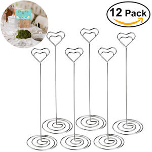 12pcs Heart Table Number Name Place Card Holders Photo Stand Note Memo Clip