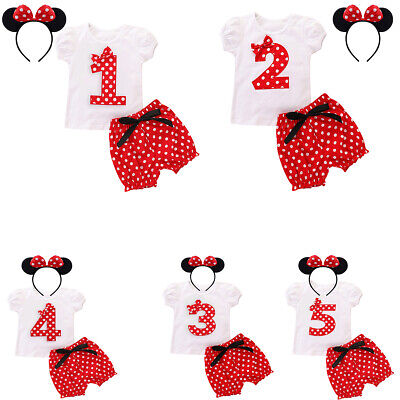 Mickey Mouse T-shirt with Shorts Headband 1st 2nd Birthday Outfits for Baby Girl](Mickey Mouse Outfit For 1st Birthday)