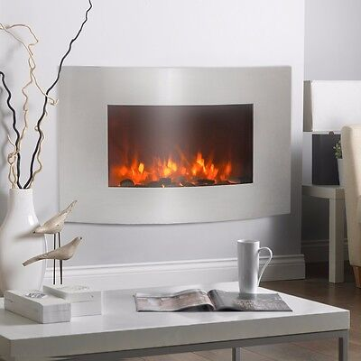"""Stainless Steel 1500W Adjustable  Electric Wall Mount Heater Fireplace 36""""x21"""""""