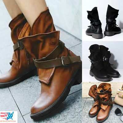 Womens High Heel Lace Up Ankle Leather Boots Ladies Buckle Platform Shoes (Lace Up Platform Shoes)