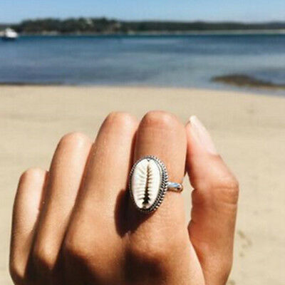 Boho Nature Cowrie Shell Ring handmade silver Band Rings Jewelry Gift 2018 hi