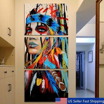 Купить Unbranded/Generic - 3Pcs/Set Indian Woman Abstract Canvas Print Art Painting Picture Home Wall Decor