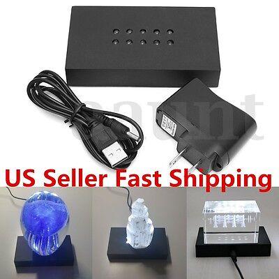 Elegant 10 Brilliant LED White Lighted Stand Base USB Crystal Display AC Adapter