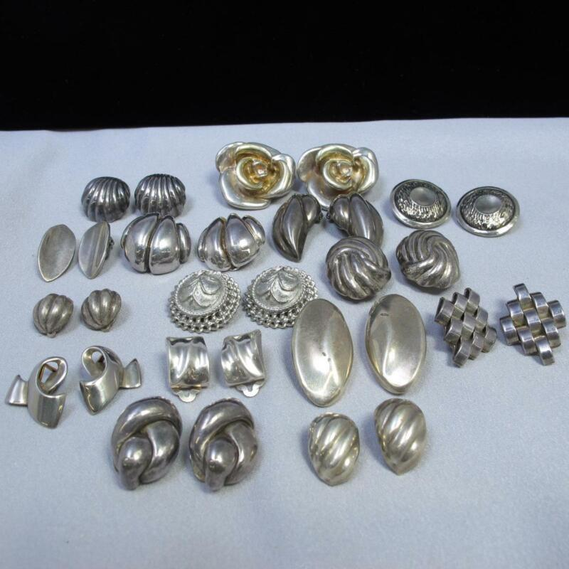15 Pr. Group Sterling Silver 925 Assorted Clip On Earrings 190.7g #A862