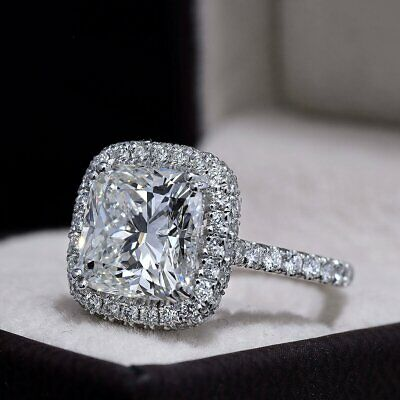 3.50 Ct Cushion Cut Diamond Halo Engagement Ring I Color VS2 GIA Certified 14KWG 1