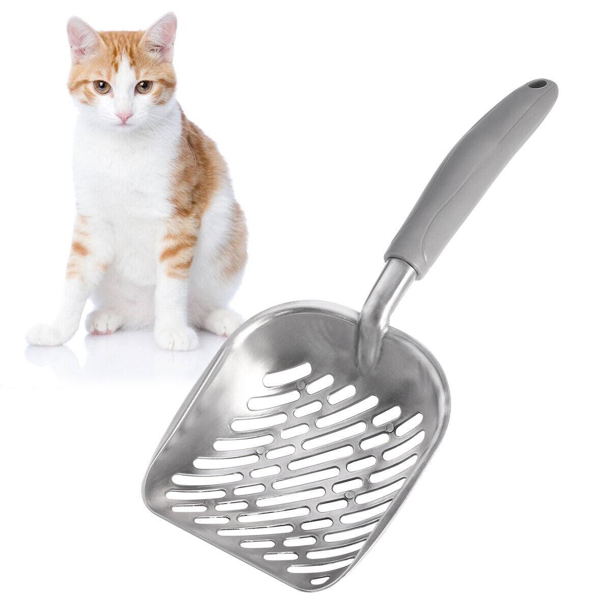 UEETEK Pet Kitty Dog Cat Litter Scooper Metal Pet Cat Poop Shovel with Long Handle