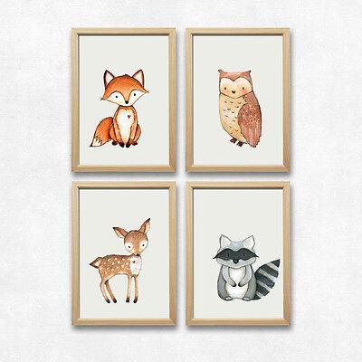 Wald Tiere Kunstdruck Fuchs Eule Reh Waschbär Kinderzimmer Deko Bilder Geschenk