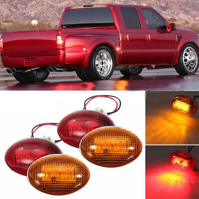 1999 Ford F550 Truck (For 1999-2010 Ford F350 Amber/Red Side Fender Marker Dually Bed LED Light Kit)