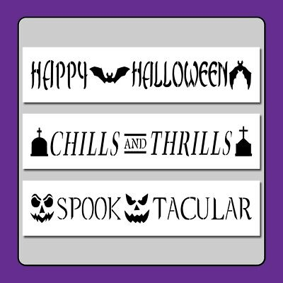 Set 3 Halloween Sentiments/Borders STENCILS 3 X 12 - Halloween Bat Stencils Pumpkins