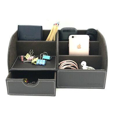 Desk Organizer Box Coffee Desktop Business Card Pen Pencil Phone Storage Holder