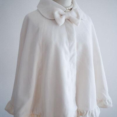 NWT🎀LIZ LISA🎀Bow White Brushed Coat Cape Poncho Dress Romantic Lolita Hime