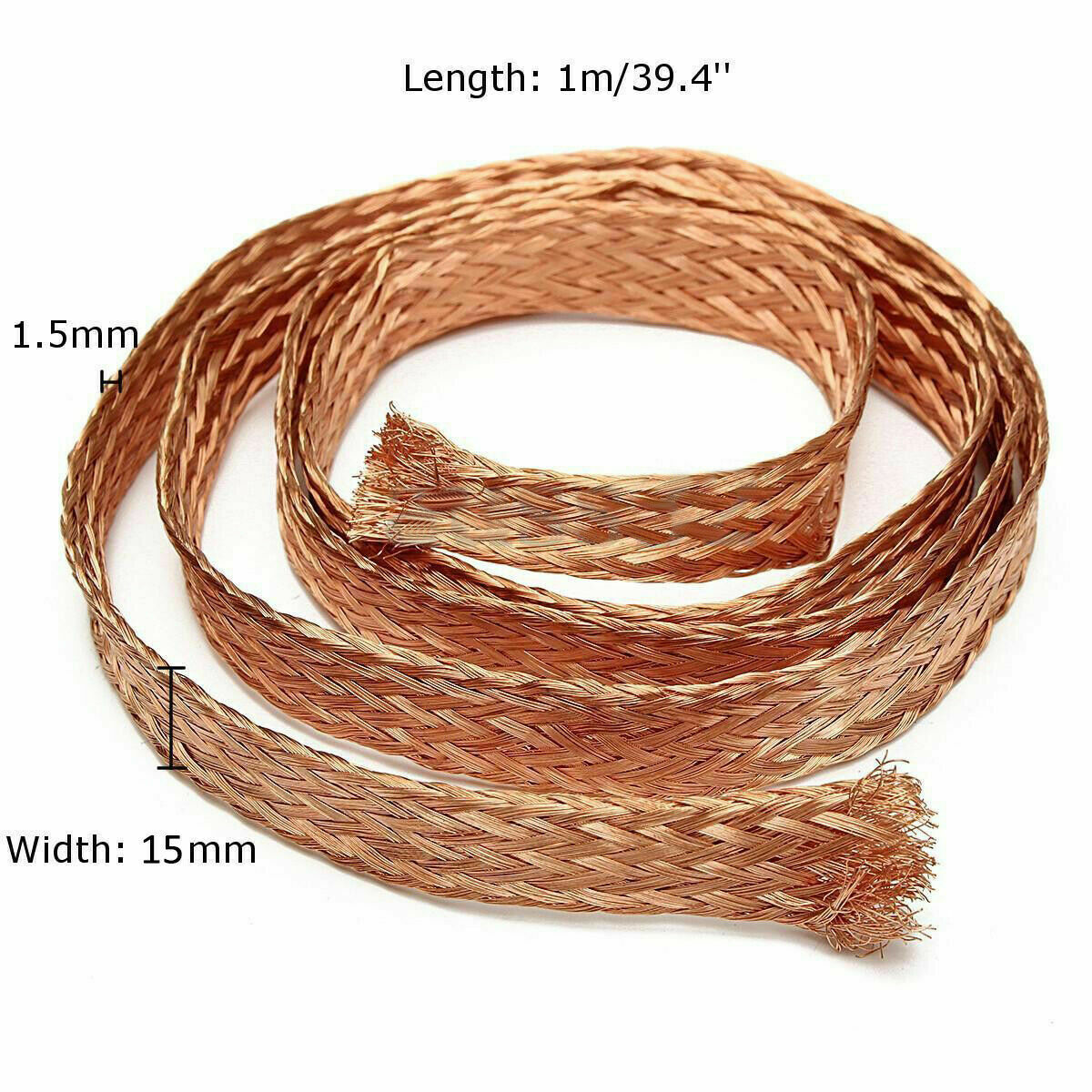 1mm x 5mm JIZHU Flat Tinned Copper Braid Wire Copper Cable Stranded Bright Braided Ground Lead Length 20meters//65.6Ft 2.5#