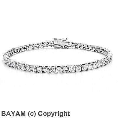 Diamonique CZ Round Cut Prong Set Tennis Bracelet Sterling Silver 8.4TCW 925