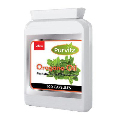 Aceite de Orégano 25mg 100 Cápsulas Anti-fungi Hecho en Reino Unido Purvitz