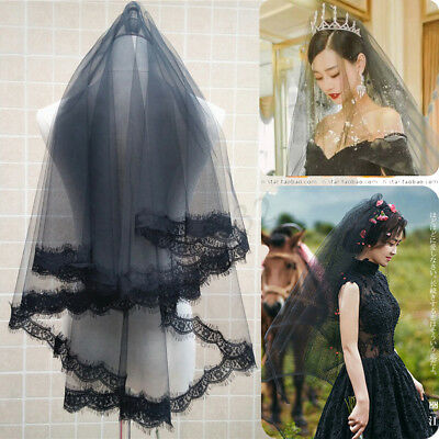 Bridal Black Rose Veil With Comb Women Wedding Veils For Halloween Fancy Dress ! (Black Bridal Veil Halloween)