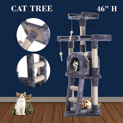 Cat Tree Post Scratcher Furniture Play House Pet Bed Kitten Toy Gray