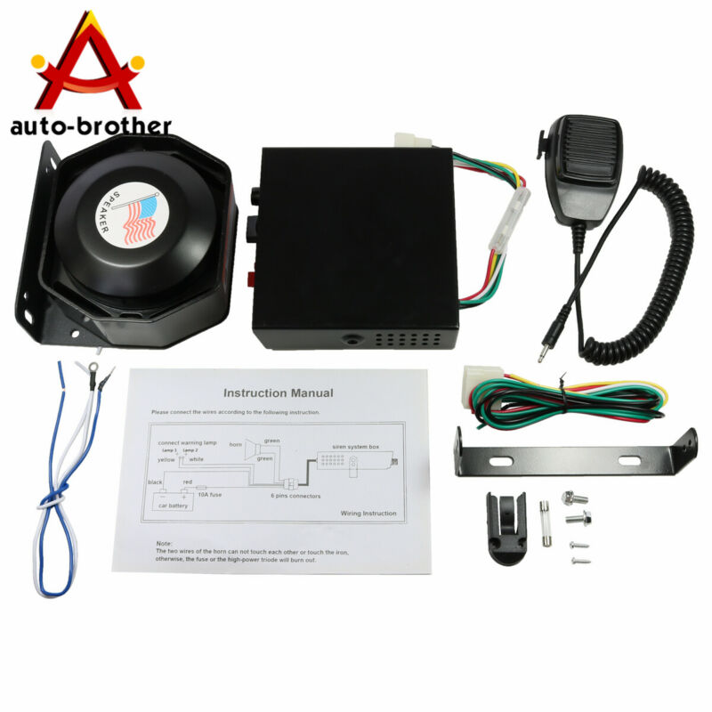 New Car Warning Alarm Police Fire Horn 200W PA Speaker MIC System 8 Sound Loud