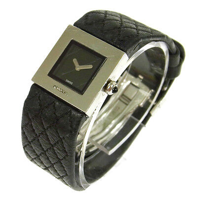 Authentic CHANEL CC Logos Quilted Quartz Watch Wristwatch Leather Belt V09025