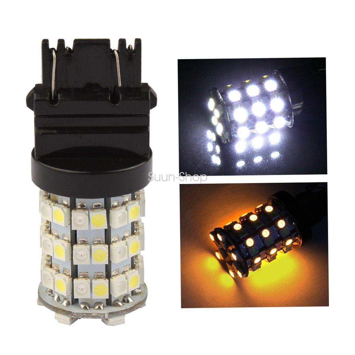 2x 3157 White/Amber Stop Brake Flash Strobe Rear Alert Safety 60-LED Light Bulbs