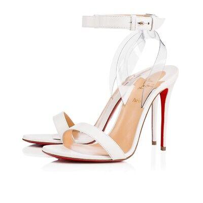 NIB Christian Louboutin Jonatina 100 White PVC Ankle Strap Sandal Heel Pump 38