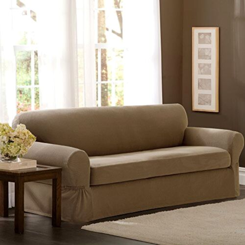 New Maytex Pixel Stretch 2-Piece Sofa Slipcover Durable For
