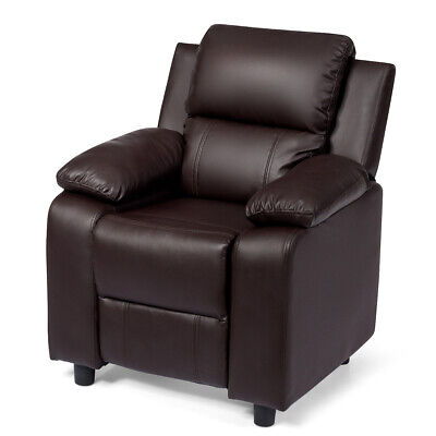 PU Leather Kids Recliner with Armrest & Headrest Children Couch Lounge Brown ()