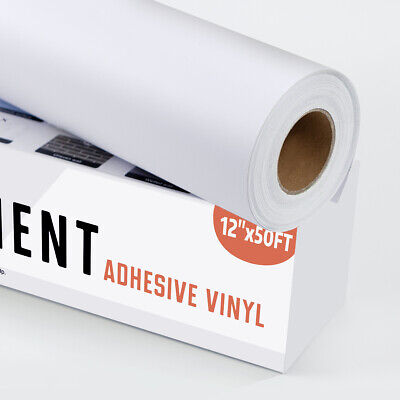 White Permanent Adhesive Sign Vinyl Roll 12 X 50ft For Cricut Silhouette Cameo