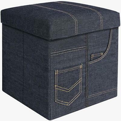 Foldable storage Ottoman cube with padded, unique denim stitching -