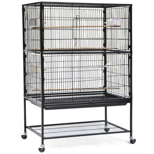 Iron Bird Cage With Portable Wheels, Parrot Budgie Finch Canary for Hobby Large