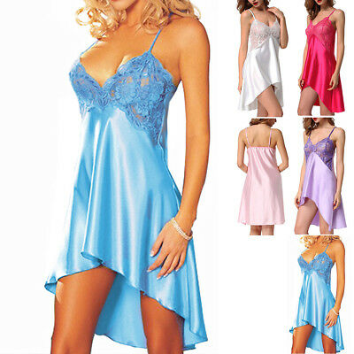 - Womens Satin Silk Lace Chemise Night Dress Robe Sleepwear Lingerie Nightgown