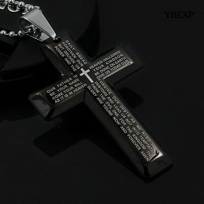 New Gift Unisex's Men Stainless Steel Cross Pendant Black Silver Necklace USA