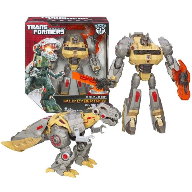 TRANSFORMERS Fall of Cybertron GRIMLOCK dinosaur rex robot figure toy NICE, RARE