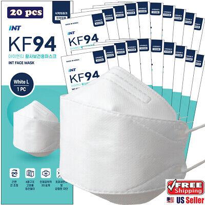 20 Pack Int Kf94 White Korean Face Mask 4 Layered 3d Ergonomic Design Mask