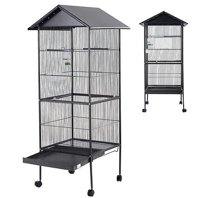 New Bird Cage Large Black Parrot Cockatiel Parakeet Finch Crate Feeder Perch