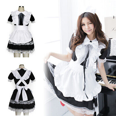 Anime Women Men Cafe Maid Cosplay Uniform Dress Costume Japanese Lolita S-5XL