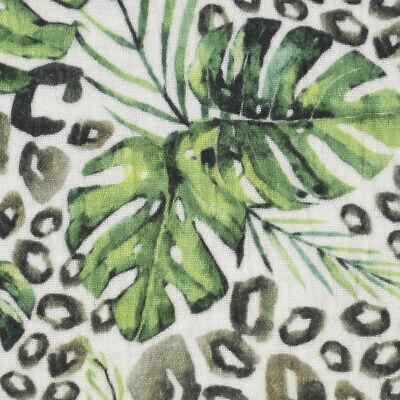 Tejidos para Prendas de Vestir Musselin Impresión Digital Jungla Leopardo Blanco