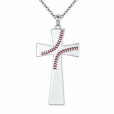 S925 Sterling Silver  Cross Communion Bible Verse Baseball Pendant Necklace - Communion Verse
