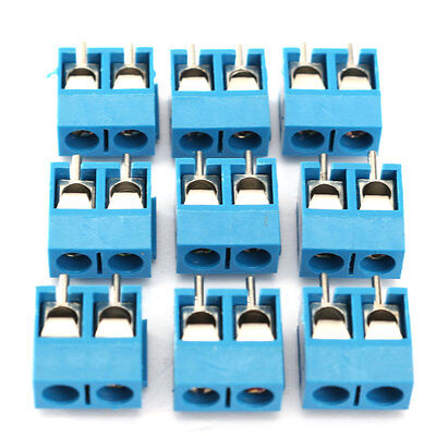 40x 2-pin Screw Terminal Block Connector 5.08mm Pitch Panel Pcb Mount Blue K5233