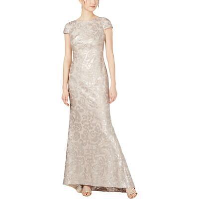 Calvin Klein Womens Beige Sequined Evening Formal Dress Gown 12 BHFO 2397